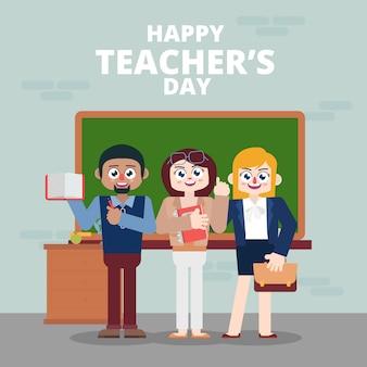 Lehrer feiern einen fröhlichen tag der forscher im klassenzimmer