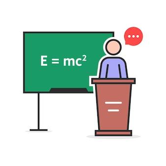 Lehrer für lineare physik der farbe. konzept der emc, emc2-theorem, podiumstisch, regel, pädagogik, qed, mathematik, strichmännchen, physiker. flat style trend moderne logo-design-vektor-illustration auf weißem hintergrund