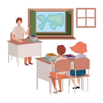 Lehrer im klassenzimmer mit schüler avatar charakter