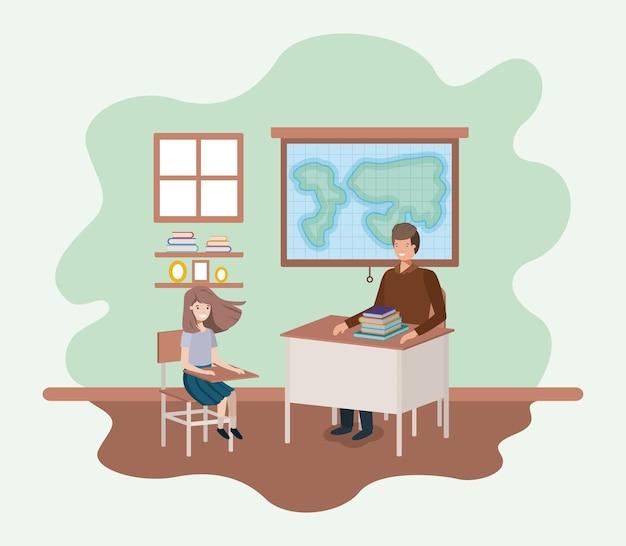 Lehrer in der geografieklasse mit studenten vector illustrationsdesign