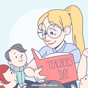 Lehrer lesen zu ihren schülern