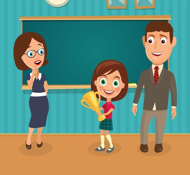 Lehrer, mann und mädchen, die eine tasse halten. innenraum des klassenzimmers. flache farbillustration des vektors