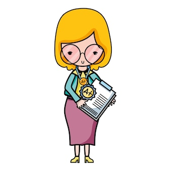 Lehrer mit brille und berichtstest