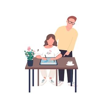Lehrer mit flacher farbe gesichtslosen charakter des kunststudenten