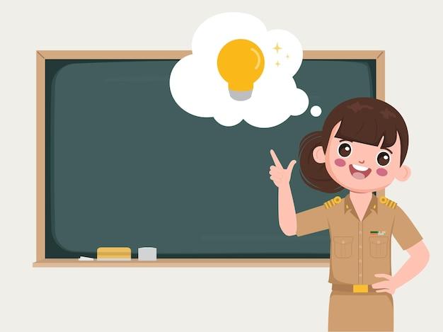 Lehrer mit glühbirne im klassenzimmer