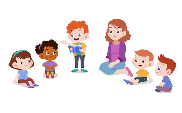Lehrer mit kinderschule