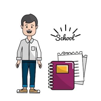 Lehrer mit ringen notizbuch und sein papper