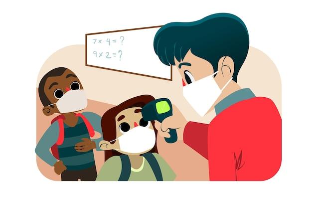 Lehrer prüft die temperatur der kinder