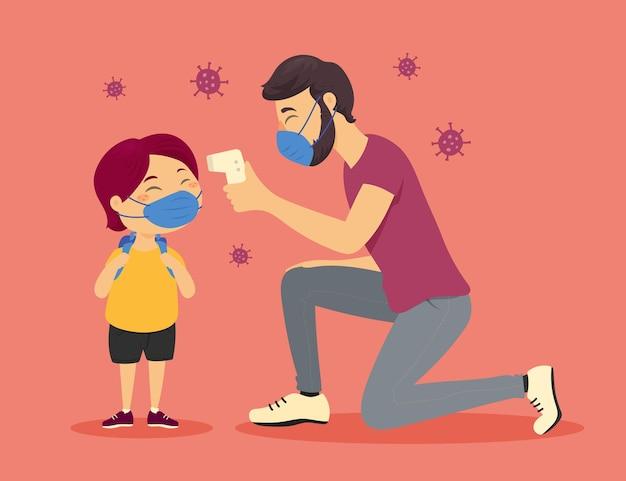 Lehrer prüft die temperatur eines jungen