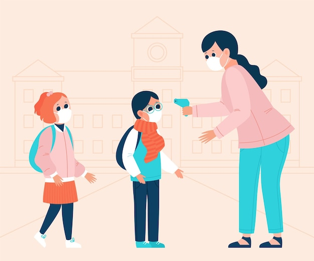 Lehrer prüft kindertemperatur