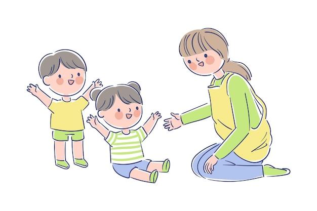 Lehrer spielt mit kleinen schülern