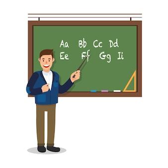 Lehrer stand in der nähe von blackboard auf weißem hintergrund.