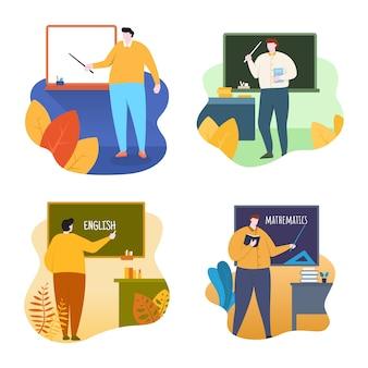 Lehrer standing vor klassenzimmer mit flacher design-illustration der tafel