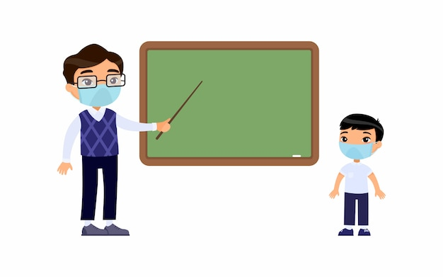 Lehrer und grundschüler mit schutzmasken auf ihren gesichtern flache vektorillustration. lehrermännchen und schuljunge stehen an der tafel. atemschutz, allergiekonzept.