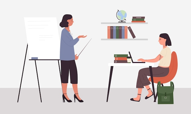 Lehrer und schüler im klassenzimmer lernprozess klassenunterricht in der schuluniversität