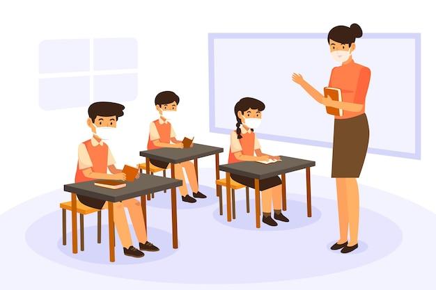 Lehrer und schüler tragen gesichtsmaske in der klasse