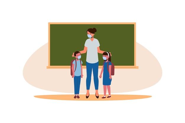Lehrer und schüler tragen maskendesign