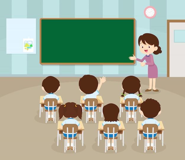 Lehrer und schüler übergeben