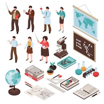 Lehrer und schule, die mit lektions- und bildungssymbolen eingestellt wurden, lokalisierten isometrisches