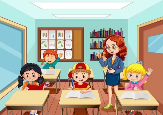 Lehrer unterrichtet schüler in der klassenzimmerszene