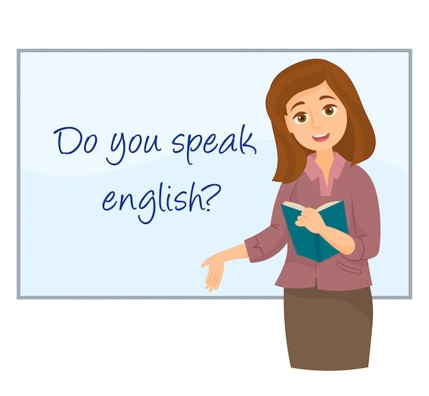 Lehrer zeigt englisch auf whiteboard