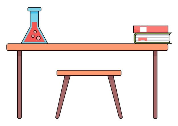 Lehrerarbeitsplatz oder schülerschreibtisch, flasche mit roter flüssigkeit im cartoon-stil