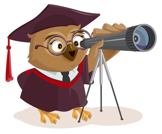 Lehrereule schaut durch teleskop.
