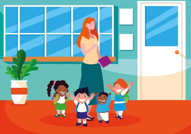 Lehrerfrau mit studenten in der schule