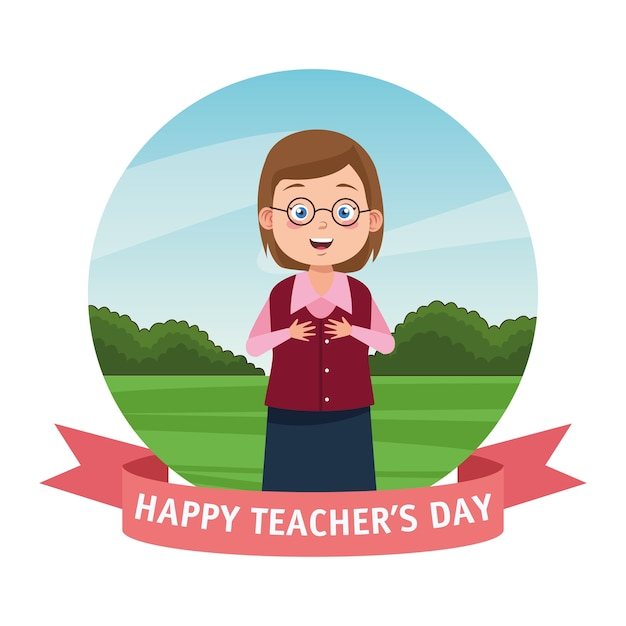 Lehrerin, die brillen mit lehrertagsbeschriftung und bandrahmen trägt