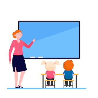 Lehrerin, die lektion für kinder erklärt