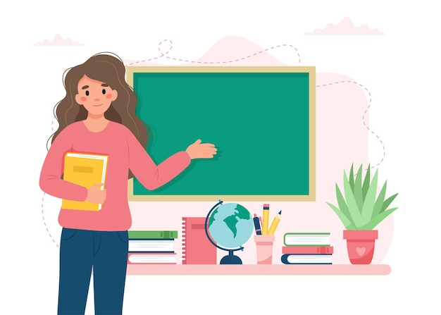 Lehrerin im klassenzimmer schul- und lernkonzept-lehrertag