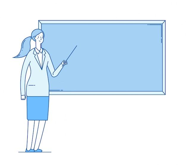 Lehrerin. junge professorin, die an der tafel im klassenzimmer lehrt