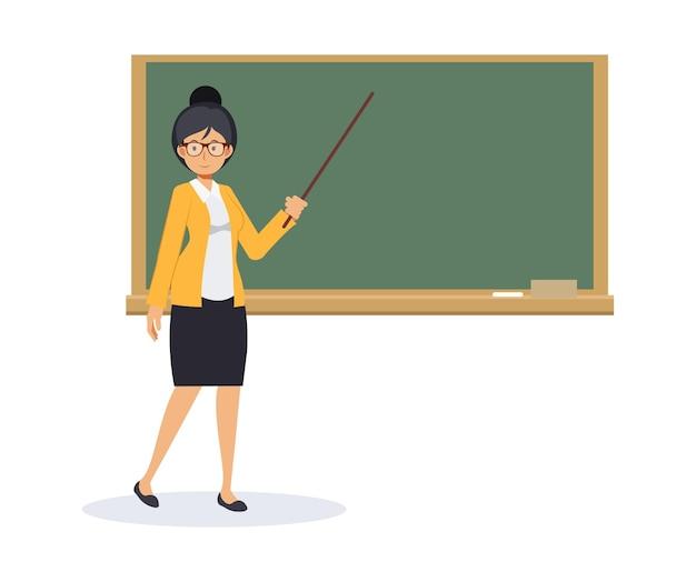 Lehrerin mit einer leeren tafel und einem zeigestab