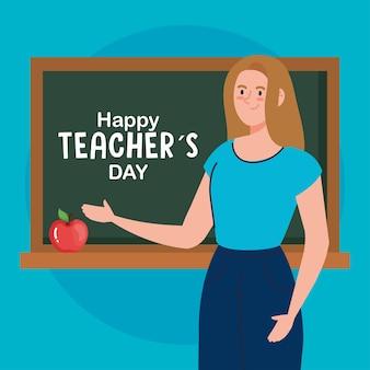 Lehrerin mit grünem brett und apfelentwurf, glückliches lehrertagsfest und bildungsthema