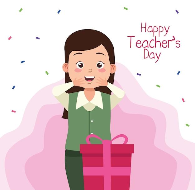 Lehrerin mit lehrertagsbeschriftung und geschenk