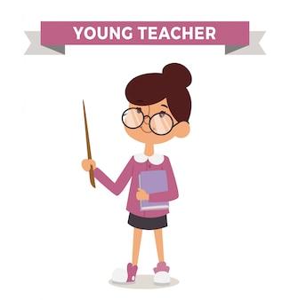 Lehrermädchen mit dem buch getrennt
