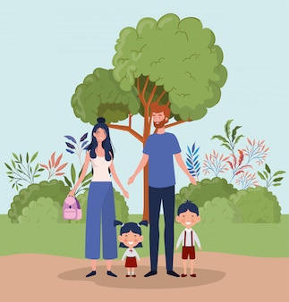 Lehrerpaare mit kleinen studentenkindern in der landschaft