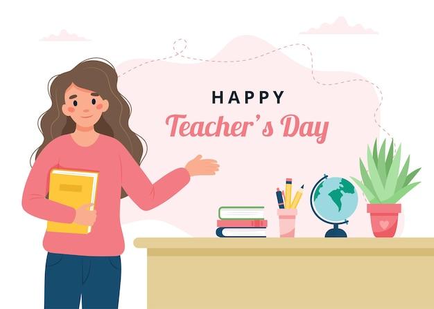 Lehrertag-konzept lehrerin im klassenzimmer schule und lernen