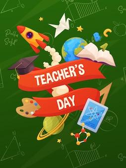 Lehrertag vektor. karikaturschulelemente auf rückenbrett: buch, kappe, planeten, sterne, farbe, rakete, tablette, molekül.