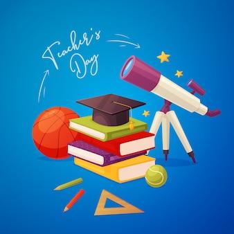 Lehrertagesgrußkarte mit teleskop, büchern, kappe, bleistiften, machthaber, bällen und sternen.