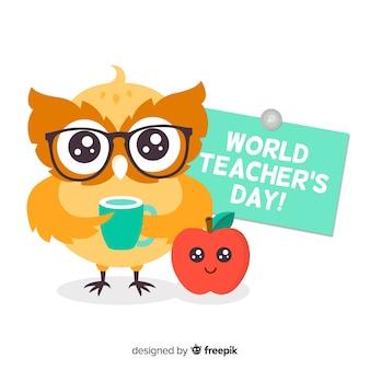 Lehrertageshintergrund mit eule
