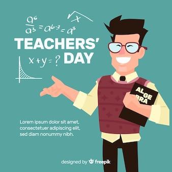 Lehrertageshintergrund mit lächelndem lehrer