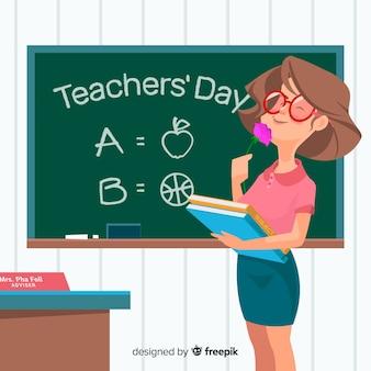 Lehrertageshintergrund mit weiblichem lehrer
