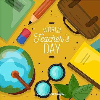 Lehrertageskonzept mit flachem designhintergrund