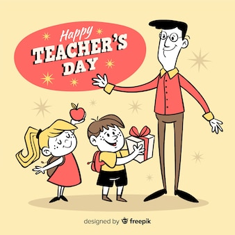 Lehrertageskonzept mit hand gezeichnetem hintergrund