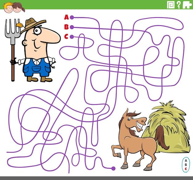 Lehrreiches labyrinthspiel mit cartoon-bauer und pferd