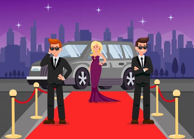 Leibwächter und weibliche celebrity-cartoon-figuren