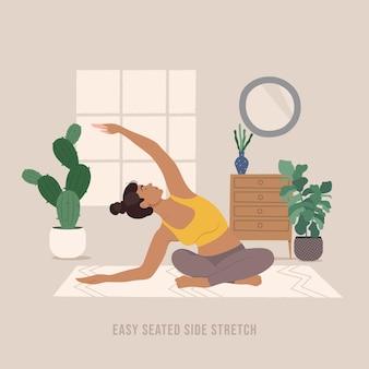 Leicht sitzende seitliche stretch-pose junge frau, die yoga-pose praktiziert