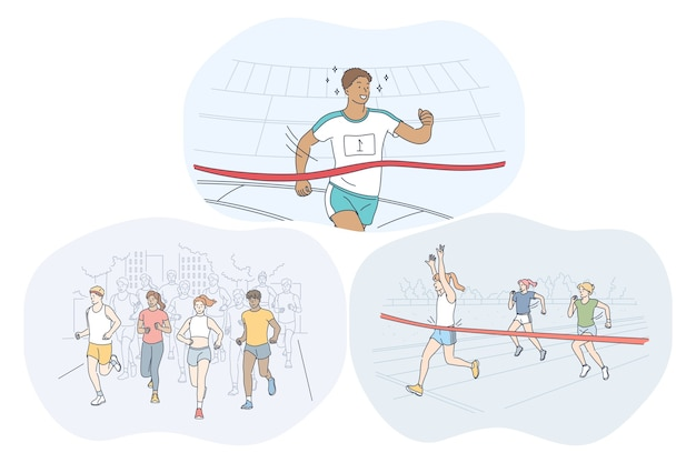 Leichtathletik, laufen, marathon-wettkampfkonzept.