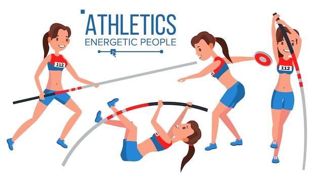 Leichtathletik-spielerin. win-konzept. verschiedene. wettkampf. hürde weitsprung. in aktion. zeichentrickfigur